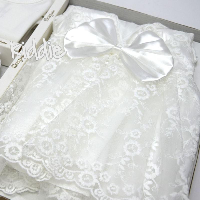 Set externare bebe Ilkay bebe rochie cu fundita