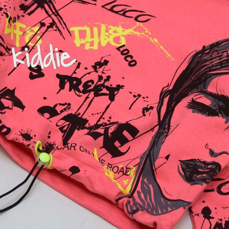 Bluza cu scris si gluga Loco Loco fete