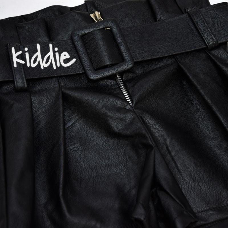 Pantaloni din piele cu talie inalta