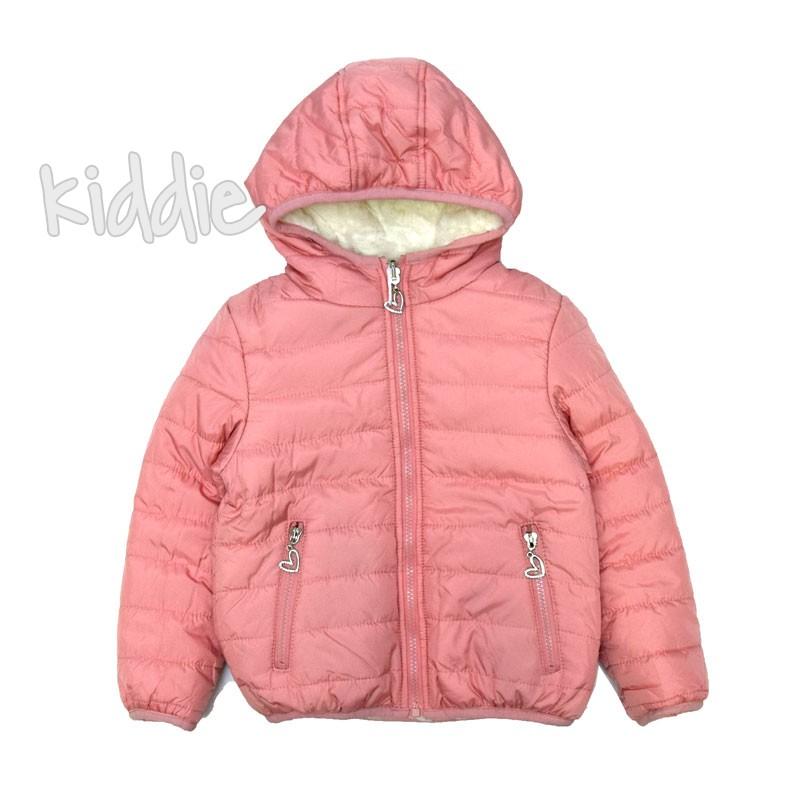 Geaca Pink Baby reversibila cu puf alb