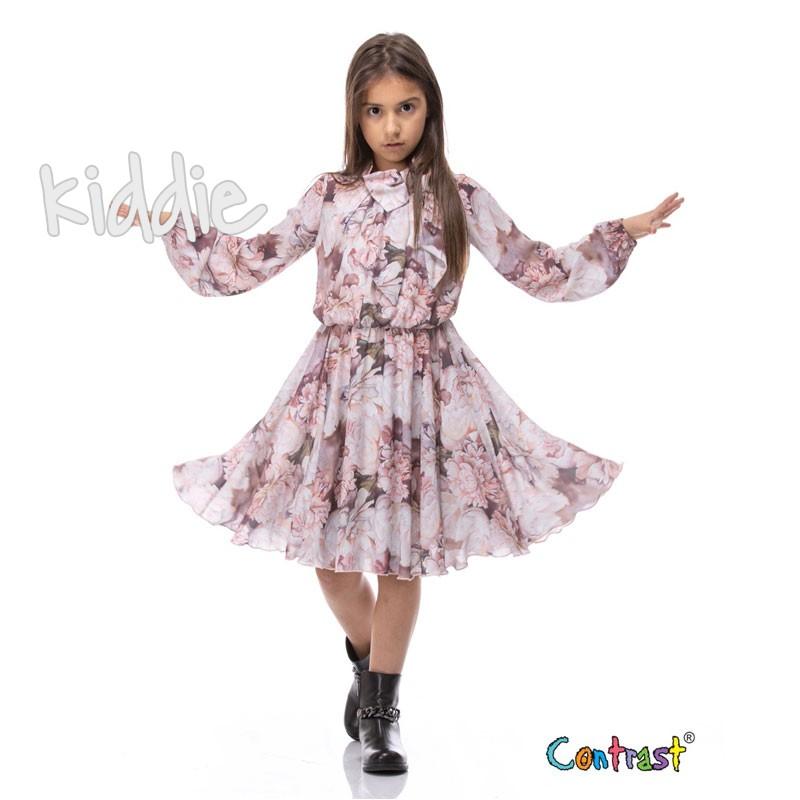 Rochie sifon cu maneca lunga Contrast copii