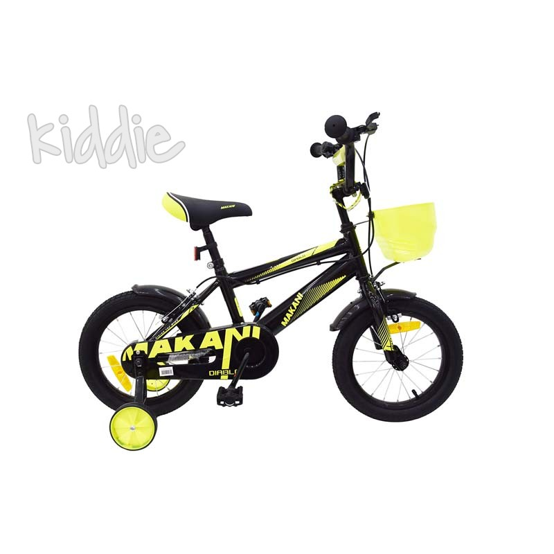 Bicicleta copii 14 Diablo Black and Yellow Kikka boo Makani