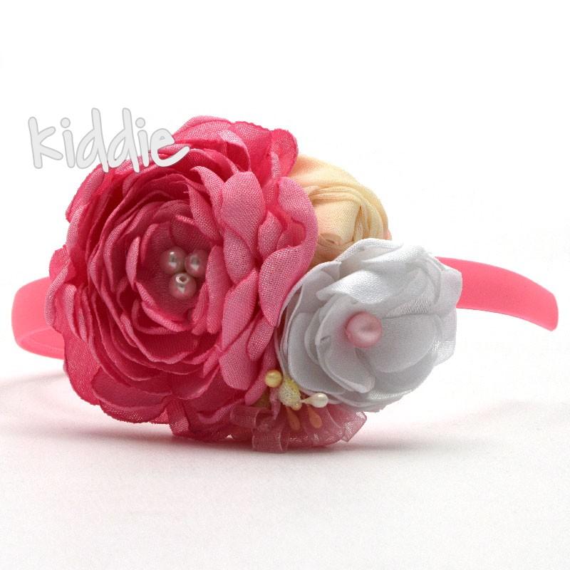 Diadema cu flori handmade pentru fete